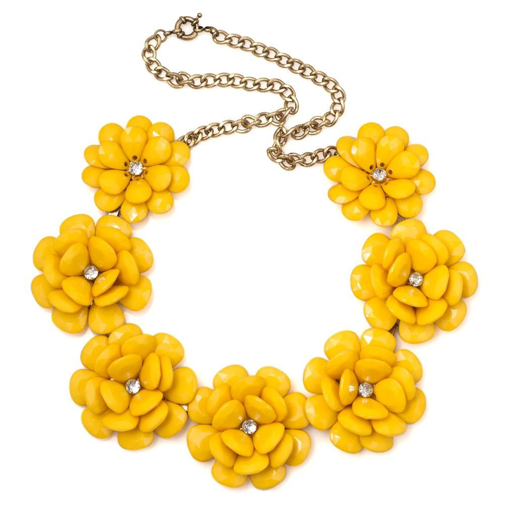 Women Yellow Vintage Flower Choker Chunky Bib Statement Necklace Pendant for Lady