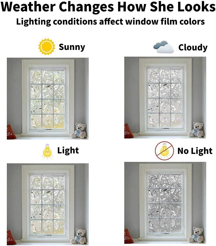 White Shackcom Privacy Window Film 35.4 X 157.5 inch No Glue Anti-UV Static Cling Heat Control Non-Adhesive Stained Glass Door Glass Cover 3D Decorative Window Stickers Rainbow Frost Window Decals