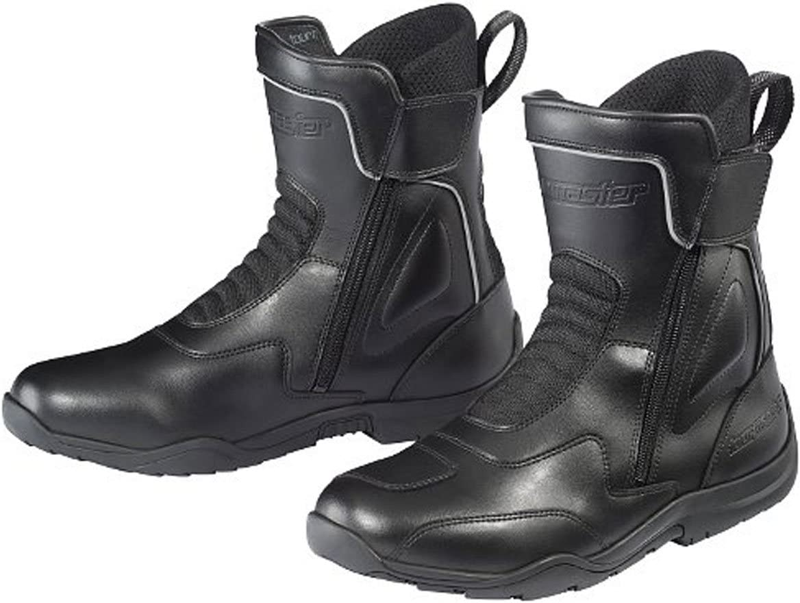 Black//Size 12 Tour Master Flex WP Dual Zip Mens Leather Street Motorcycle Boots
