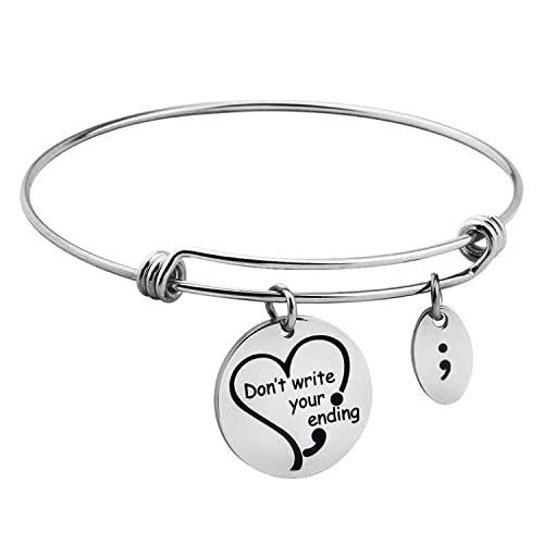 Letter Carved Cuff Bracelet Semicolon Bangle Mental Health Care Jewellery Gift