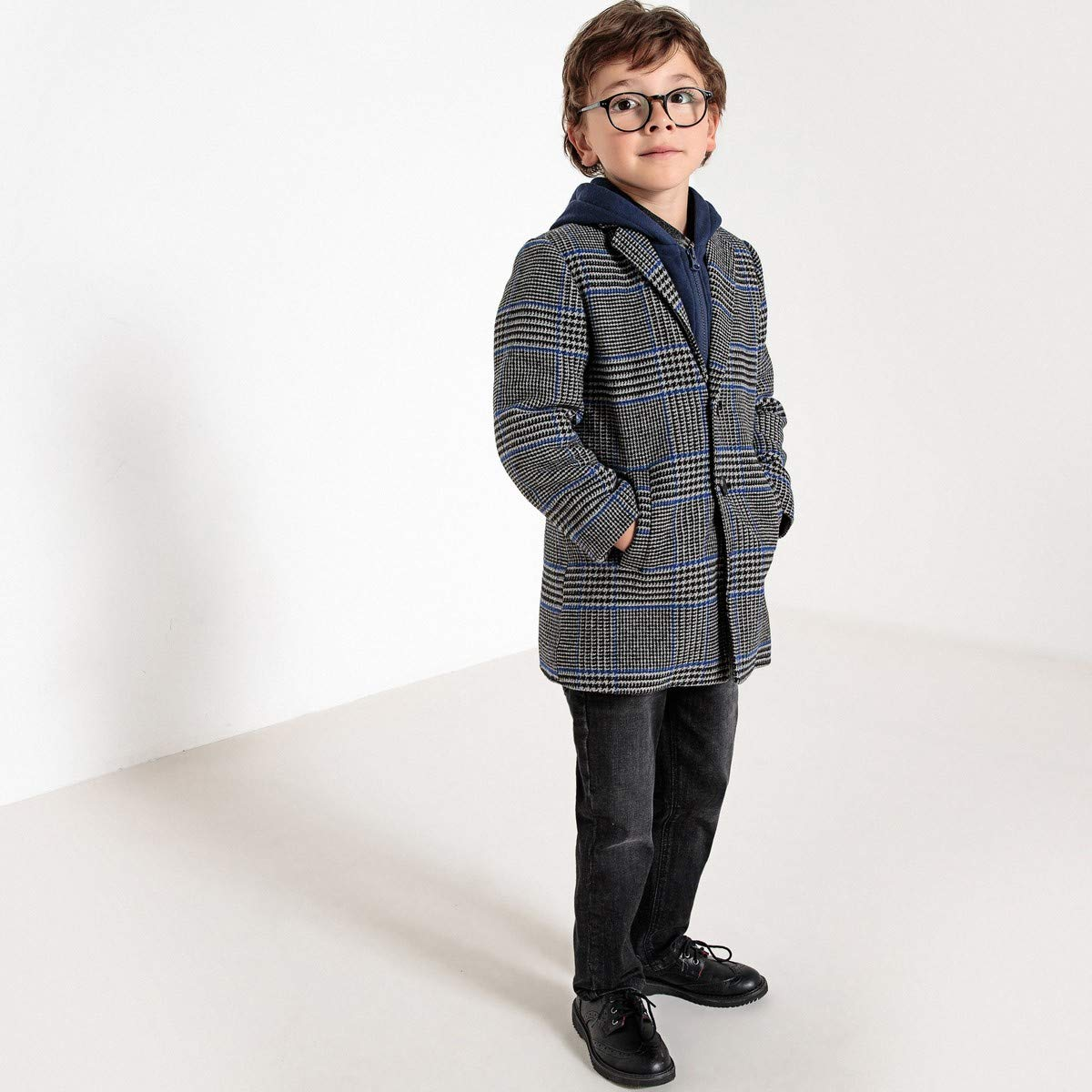 c21f49391 Amazon.com: La Redoute Collections Big Boys Hooded Checked Coat, 3-12 Years  Other Size 3 Years - 37 in.: Clothing