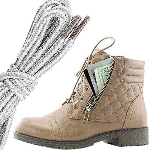 Dailyshoes Donna Militare Allacciatura Fibbia Stivali Da Combattimento Alla Caviglia Alta Tasca Esclusiva Per Carte Di Credito, Grigio Bianco Beige Pu