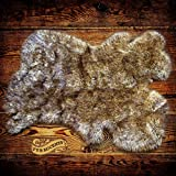 Brown Spotted Lynx , Lion, Wolf, Coyote Fur Rug Shag Pelt Rug Faux Flokati Pelt Suede Lined (2'x4′)