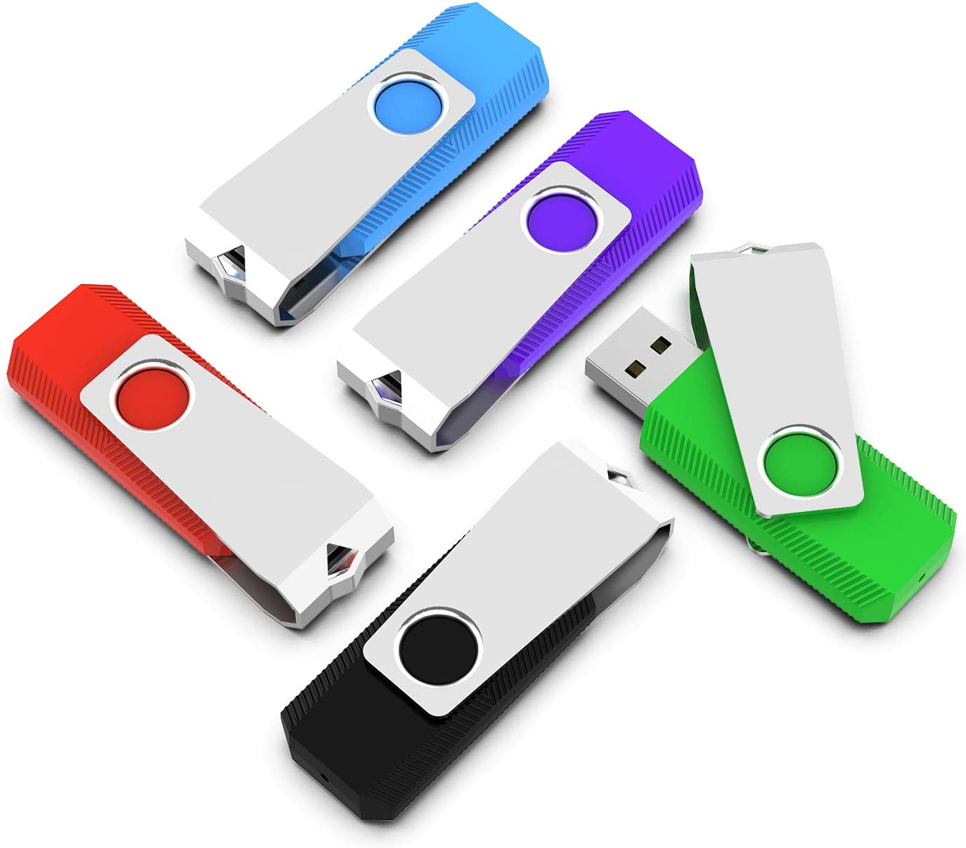 64G Blue//Red RAOYI 2 Pack 64GB USB 3.0 Flash Drives Swivel Memory Stick 64 gb Thumb Drives Data Storage Transfer Speeds Up to 90 MB//s