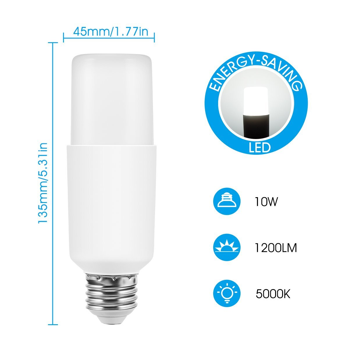 Ideal for Home Lighting 2 Pack Not Dimmable E26 Base 1200LM Showcase 10W JandCase 100W Incandescent Equivalent Tubular Led Bulb T10 LED Light Bulb 5000K Daylight White Downlight