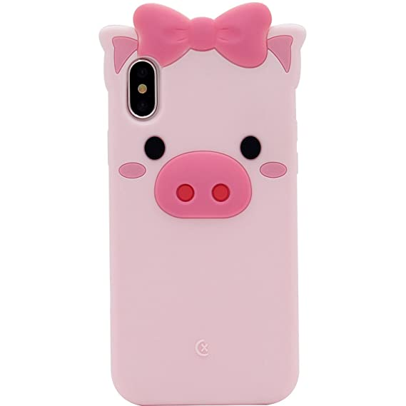the best attitude 23ed1 8669b Pink Piggy Phone Case, Anya 3D Silicone Cute Pig Bowknot Cartoon Animals  Soft Protective Slim Rubber Bumper Protective Gel Cover Shockproof Case for  ...