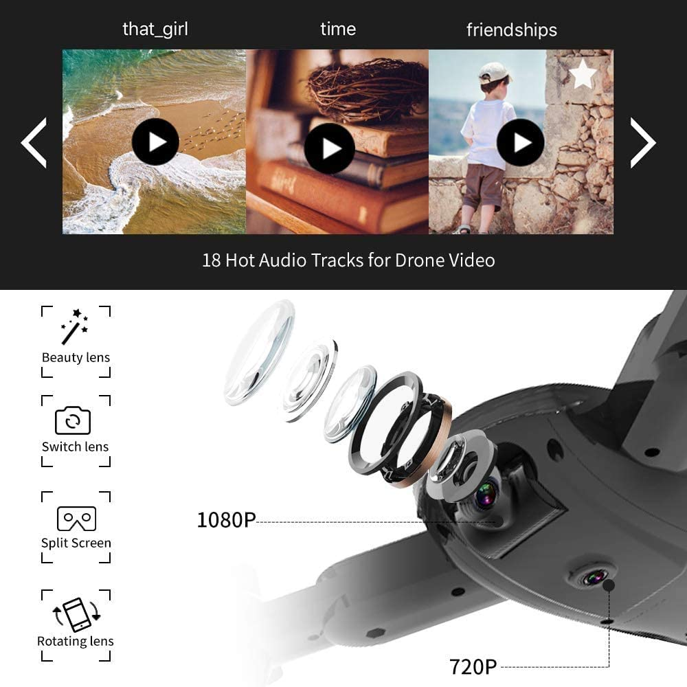 2Pcs Batteries RTF One Key Take Off//Landing Foldable Drone with 1080P HD Camera for Kids and Adults,Zuhafa T4,WiFi FPV Drone for Beginners-Altitude Hold Mode APP Control,Double Camera