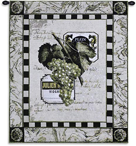 Grapes and Labels I | Woven Tapestry Wall Art Hanging | Grape Merlot French Wine Winery Swag Art | 100% Cotton USA 33X27