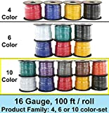 GS Power 16 Ga Gauge 10 Roll of 100 Feet (1000 ft total) Audio Video Speaker Primary Amplifier Remote Trailer Model Train Wire. Cable Color Black Red Blue Green Brown Orange Grey Purple White Yellow