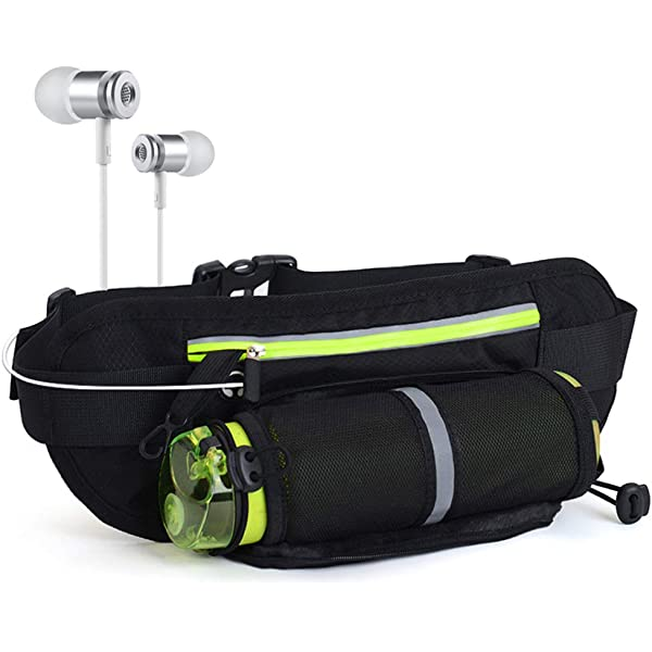 Unisex Pockets Distilled Bottle Fanny Pack Waist//Bum Bag Adjustable Belt Bags Running Cycling Fishing Sport Waist Bags Black