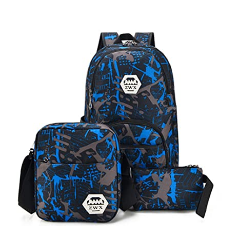 224f07f32cd7 Amazon.com: Kalakk 3Pcs USB Male Backpack Bag Set Red And Blue High ...