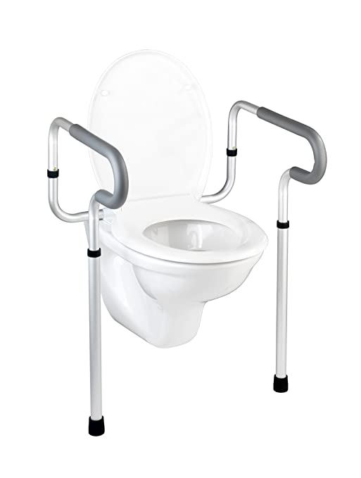 3 opinioni per WENKO 20925100 Maniglioni per seduta WC Secura, Alluminio, 55.5 x 71-81.5 x 48
