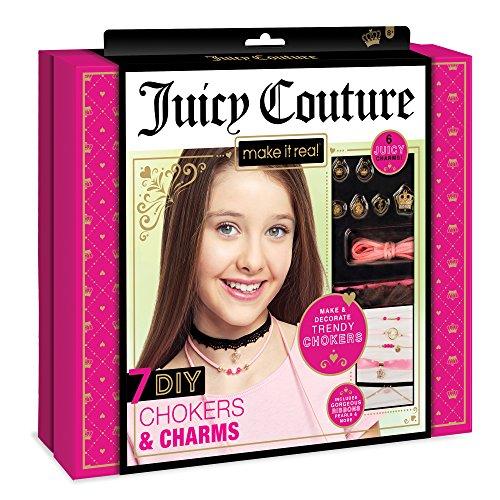 Make It Real  Juicy Couture Chokers & Charms. DIY Choker Jewelry Making Kit for Girls. Design and Create Girls Choker Necklaces with Juicy Couture Charms, Beads, Ribbons, and Chains