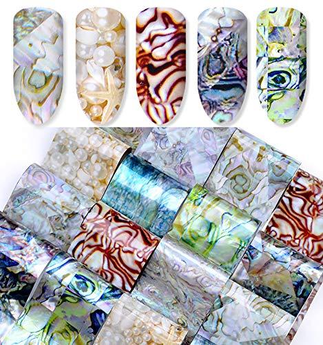 Minejin Nail Art Diy Sticker Tip 3D Marble Pattern Design Craft Decals Manicure Foil Tips 16 Sheets