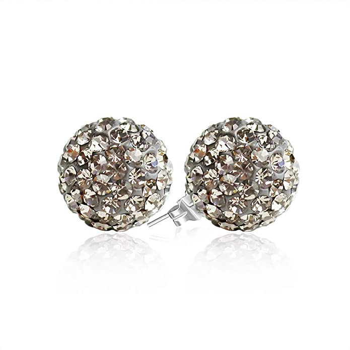 Vintage Style Jewelry, Retro Jewelry Crystal Ball Earrings BAYUEBA 925 Sterling Silver Crystal Ball Stud Earrings 8mm 10mm $15.99 AT vintagedancer.com
