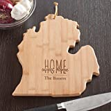 Personalized Home Sweet Home Michigan State Cutting Board, Bamboo, 14.25'' x 11'' x 5/8''
