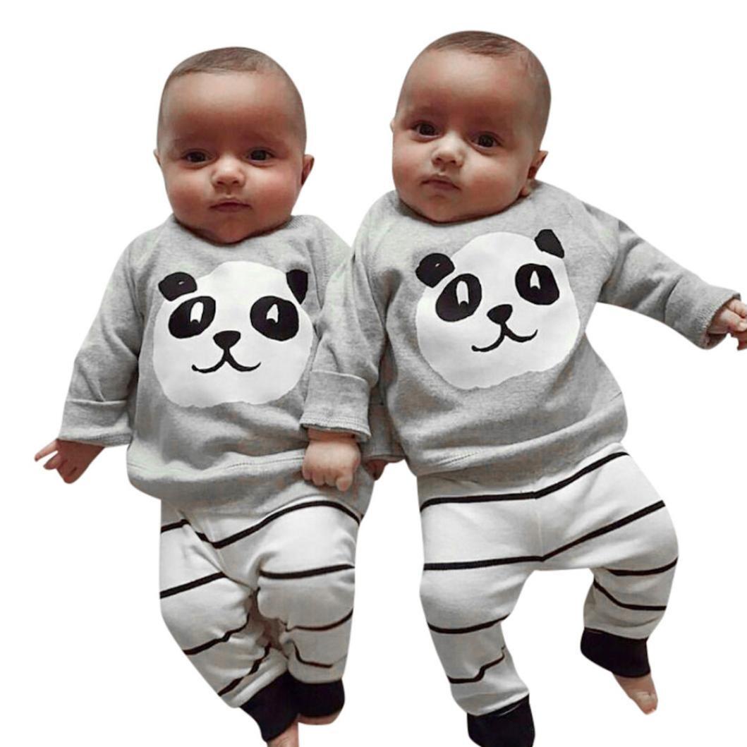 Bébé Ensemble de Vêtements,LMMVP Nouveau-né Filles Garçons Panda Tops Shirt Pantalons à Rayures Ensemble d'équipement 2PCS Vêtements 0-24 mois (90(16-18M), Gris)