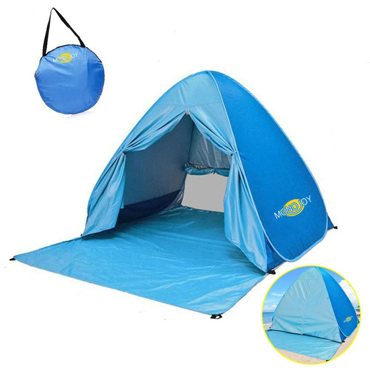 MONOJOY Pop Up Beach Tent, Baby Sun Shelter Shade Instant Tent Outdoor Quick Cabana Portable Canopy 2-3 Person Easy Lightweight UV Tents Umbrella 50+ Protection for Kids Infant Baby Family ¡ (blue)