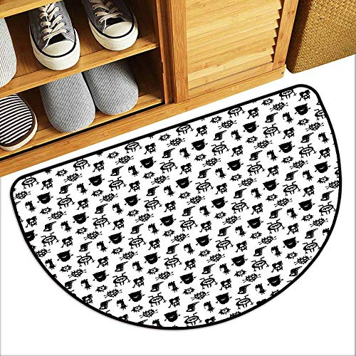 DILITECK Non-Slip Door mat Alien Monochrome Monster Silhouettes Childish Drawings of Otherworldly Beings Halloween Durable W31 xL20 Black -