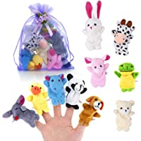 Pllieay 10 Pieces Finger Puppets Set Cloth Plush Doll Baby Educational Hand Cartoon Animal Toys