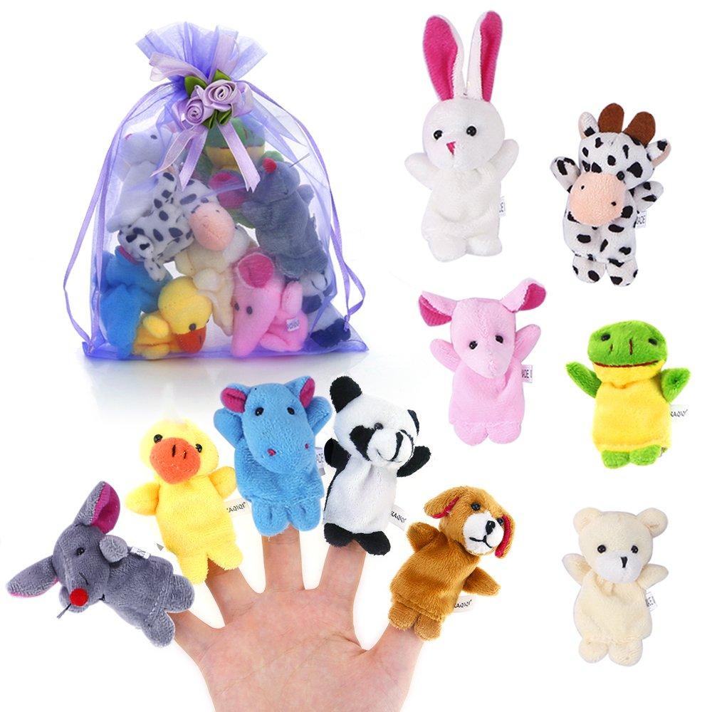 Pllieay 10 Stü cke Finger Puppets Cloth Plush Doll Baby Educational Hand Cartoon Animal Toys