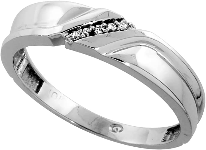 Sterling Silver Mens Diamond Band 5mm w// 0.04 Carat Brilliant Cut Diamonds wide Size 8.5 3//16 in.