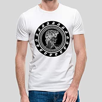 Printed T-Shirt for Men, Size S - White