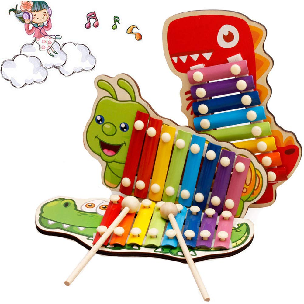 Jersh★ Very Interesting Vocal Educational Toy, 2019 Animal Octave Piano Hand Knocking Xylophone Baby Puzzle Early Education Toy Baby Kid Musical Toys Wooden Eight-Tone Piano