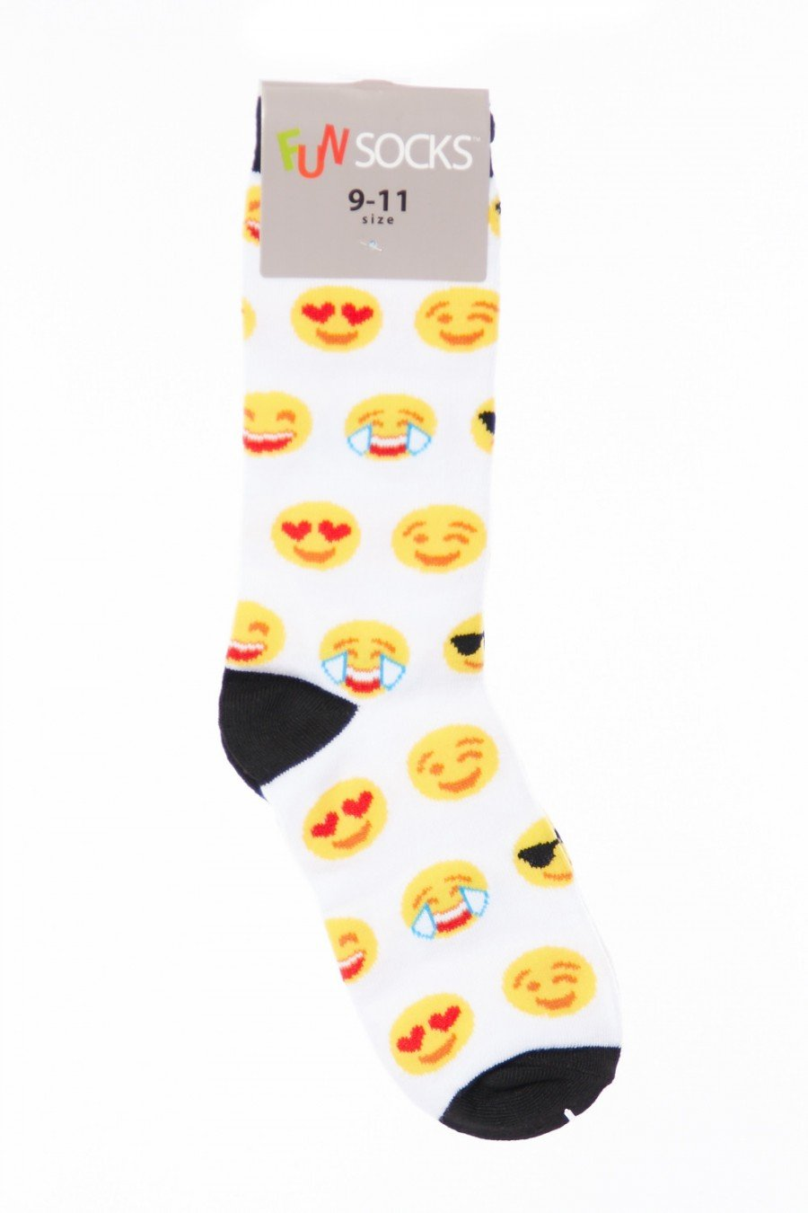 Womens Cute Funny Emoji Print Color Block Crew & Knee High Socks SR511 (Both Style All Colors)