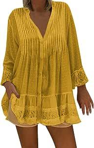 Geilisungren Mujeres V Cuello Caftan Boho Cubierta de Playa más tamaño Damas Vintage Hippie Holgados Blusa Manga Larga Blusa de Camisa de para Formal ...