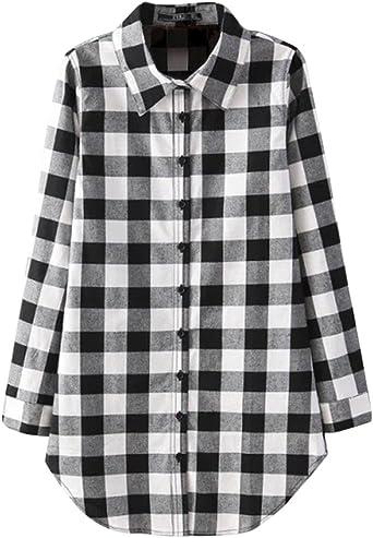 Mujer Camisa Larga Cuadros con Botón Tapas Blusa Manga Larga Camiseta Shirt: Amazon.es: Ropa y accesorios