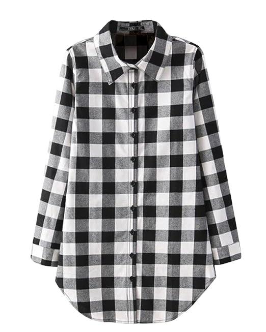 Mujer Camisa Larga Cuadros Con Botón Tapas Blusa Manga Larga Camiseta Shirt Negro L