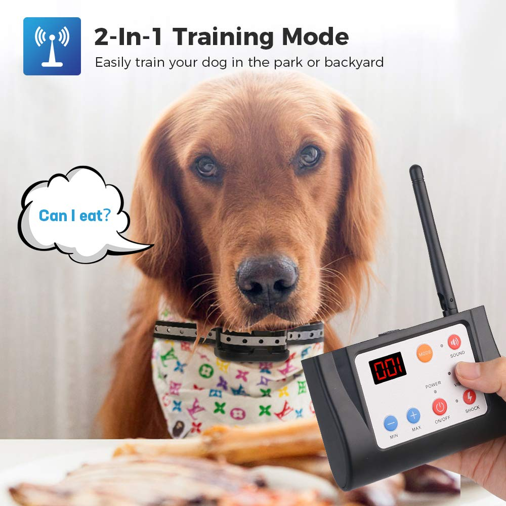 WIEZ Dog Fence Wireless /& Training Collar Outdoor 2-in-1 Harmless for All Dogs- 2 Collars Waterproof Reflective Stripe Collar Adjustable Range Control Electric Wireless Fence for Dogs w//Remote