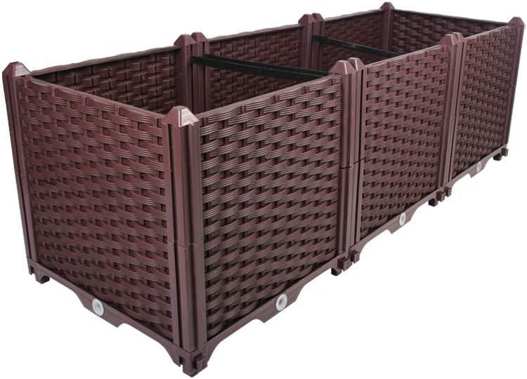 BAOYOUNI Rectangular Raised Garden Bed Kit Indoor Outdoor Plastic Planter Grow Box for Fresh Vegetables, Herbs, Flowers & Succulents, Brown, 46.06'' x 15.35'' x 14.96''