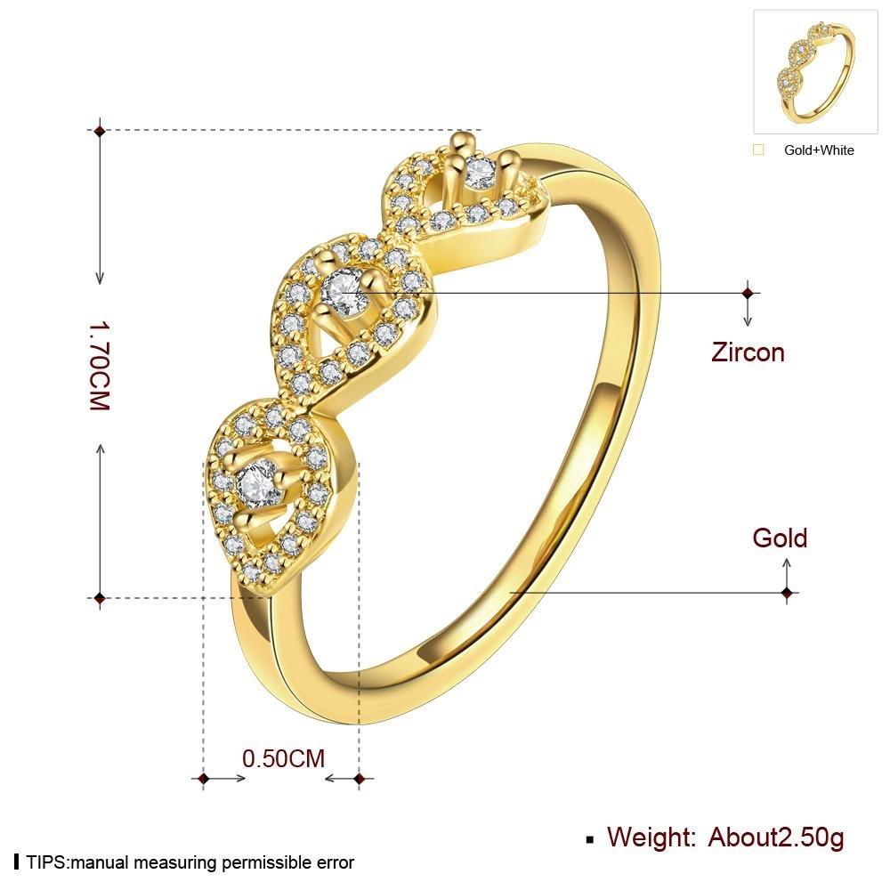 K Gold Zircon Elegant Female Ring , gold , 8