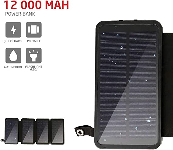 Portable Powerful Rugged Long Lasting Battery Pack for iPhone Samsung Solar Charger Power Bank 10000mAh Android /& More Charging Unit for Mobile Phone for Camping /& Travel