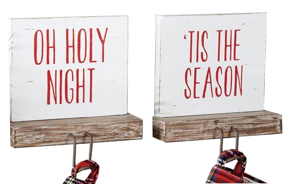 Holiday MudPie Bundle Set of 2 Wood Stocking Holders Tis the Season and Oh Holy Night 6''