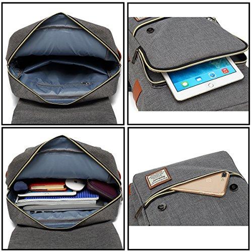 UGRACE Vintage Laptop Backpack with USB Charging Port, Elegant Water Resistant Travelling Backpack Casual Daypacks School Shoulder Bag for Men Women, Fits up to 15.6Inch Macbook in Grey