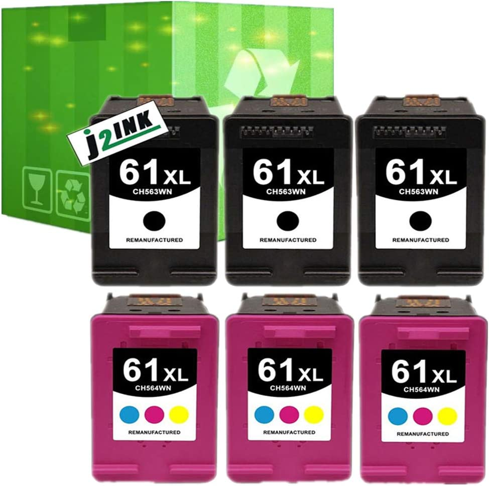 Compatible with 3PK Black Ink for HP 61XL Officejet 2000 2050 2510 2512 2514
