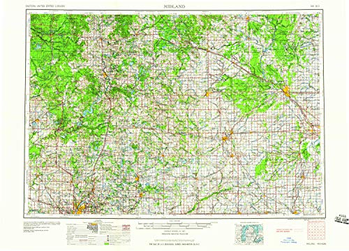 (YellowMaps Midland MI topo map, 1:250000 Scale, 1 X 2 Degree, Historical, 1959, 22 x 30.6 in - Tyvek)