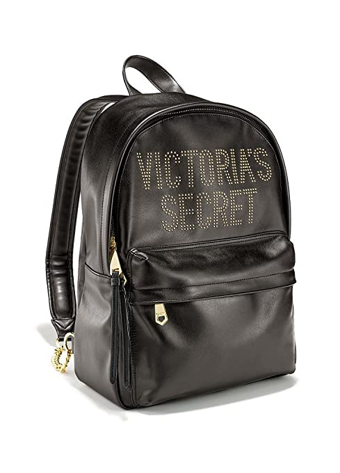 Victorias Secret - Mini Mochila Backpack Negra Apliques Dorados Glam Rock Asas Ultra Largas