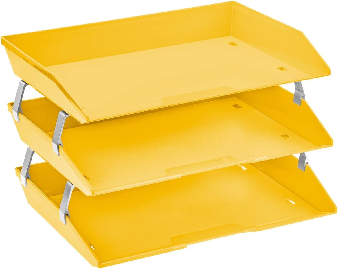 Acrimet Facility 3 Tier Letter Tray Side Load Plastic Desktop File Organizer (Yellow Color)