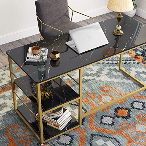 """Tribesigns 55/"""" Computer Desk Home Office Desk Study Table w// Top Storage Shelves"""