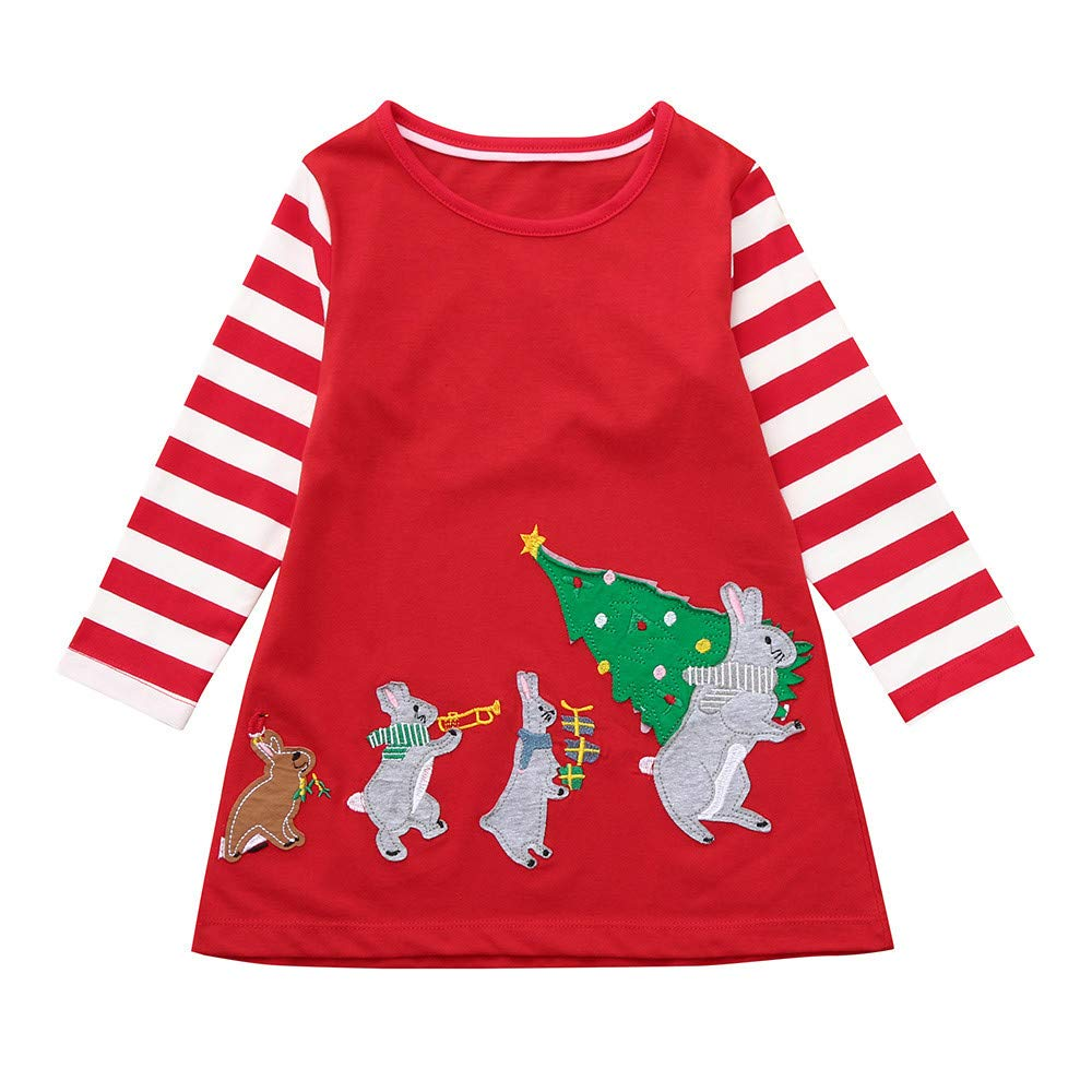 Muium Toddler Infant Baby Christmas Dress Kids Girls Cartoon Rabbit Print Dress Long Sleeved Stripe Warm Clothes Outfits for 1-7 Years Old