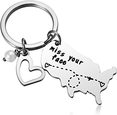 "Map ""Miss Your Face"" Keychain"