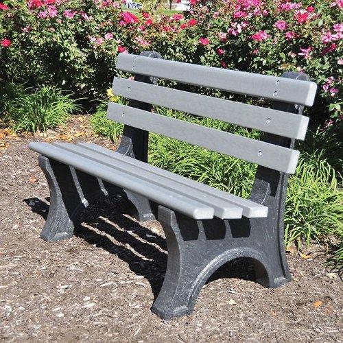Jayhawk Plastics Central Park Outdoor Bench - 4' - Gray - Gray