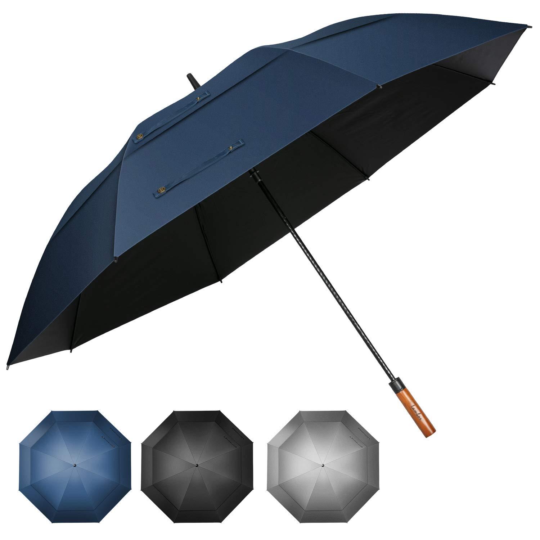 Lambor Studios 68 inch UV Protection Windproof Golf Umbrella Extra Large Automatic Open Double Canopy Vented Sun Rain Umbrellas Waterproof Oversize Stick Umbrellas for Men Women (Navy Blue-68 inch) by Lambor Studios