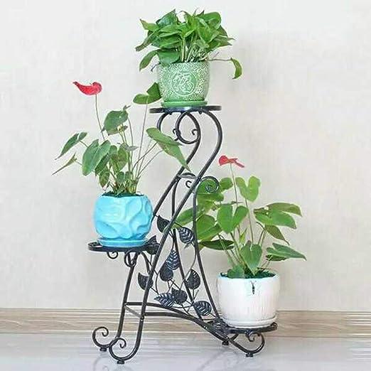 Soporte para Plantas Clásico - Soporte para Flores Multifunción, Soporte para Piso de Hierro Forjado, Patio de Múltiples Capas para Patios de Plantas Verticales en el Jardín Verde, Interior y Exterior: Amazon.es: