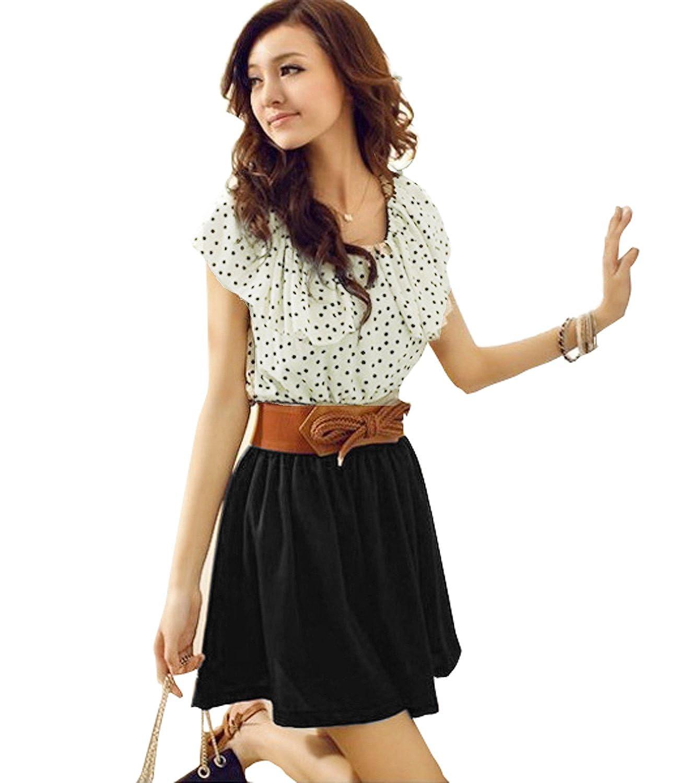 Damen Sommerkleid Rüschen Punkt Chiffon Shirt Mini Kleid ...