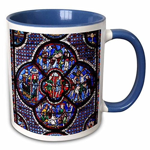 3dRose Danita Delimont - Walter Bibikow - Windows - France, Centre, Chartres, Chartres Cathedral, stained glass window. - 15oz Two-Tone Blue Mug (mug_189341_11)